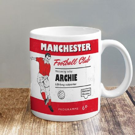 Personalised Vintage Football Red & White Mug